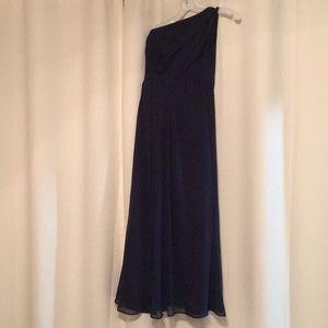 David's bridal formal long navy dress